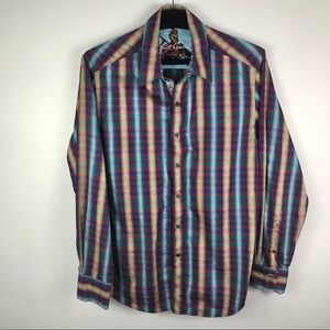 Robert Graham plaid paisley casual button down